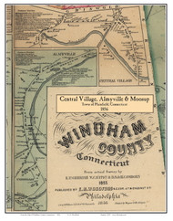 Central Village, Almyville & Moosup, Connecticut 1856 Windham Co. - Old Map Custom Print