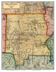 Pomfret, Connecticut 1856 Windham Co. - Old Map Custom Print