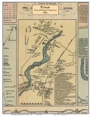Putnam Village, Connecticut 1856 Windham Co. - Old Map Custom Print