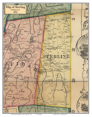 Sterling, Connecticut 1856 Windham Co. - Old Map Custom Print