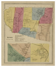 Avon, Connecticut 1869 Hartford Co. - Old Map Reprint