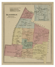 Bloomfield, Connecticut 1869 Hartford Co. - Old Map Reprint