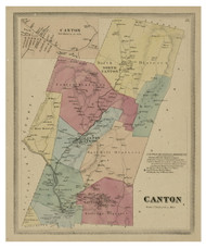 Canton, Connecticut 1869 Hartford Co. - Old Map Reprint