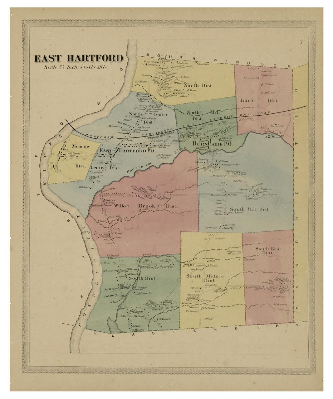 East Hartford, Connecticut 1869 Hartford Co. - Old Map Reprint - OLD ...