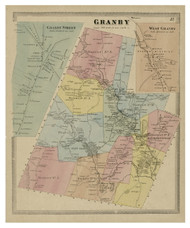 Granby, Connecticut 1869 Hartford Co. - Old Map Reprint