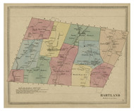 Hartland, Connecticut 1869 Hartford Co. - Old Map Reprint