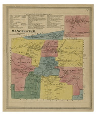 Manchester, Connecticut 1869 Hartford Co. - Old Map Reprint