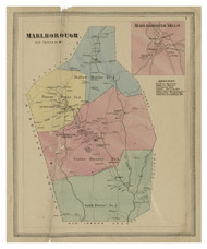 Marlboro, Connecticut 1869 Hartford Co. - Old Map Reprint