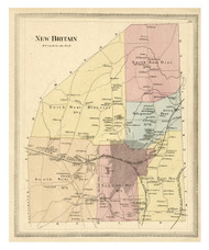 New Britain, Connecticut 1869 Hartford Co. - Old Map Reprint