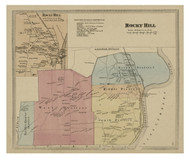 Rocky Hill, Connecticut 1869 Hartford Co. - Old Map Reprint