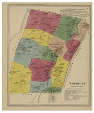Simsbury, Connecticut 1869 Hartford Co. - Old Map Reprint