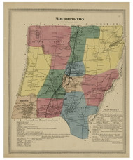 Southington, Connecticut 1869 Hartford Co. - Old Map Reprint