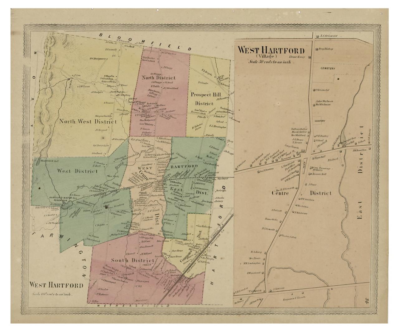 West Hartford, Connecticut 1869 Hartford Co. - Old Map Reprint