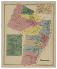 Windsor, Connecticut 1869 Hartford Co. - Old Map Reprint
