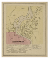 Collinsville, Connecticut 1869 Hartford Co. - Old Map Reprint