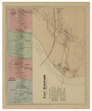 East Hartford Village, Connecticut 1869 Hartford Co. - Old Map Reprint