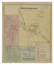 Glastenbury. South Glastenbury, Connecticut 1869 Hartford Co. - Old Map Reprint