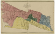 Hartford Ward 2,3,5, Connecticut 1869 Hartford Co. - Old Map Reprint