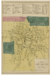 New Britain Village, Connecticut 1869 Hartford Co. - Old Map Reprint