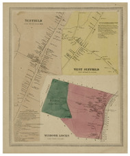 Suffield & West Suffield Villages, Connecticut 1869 Hartford Co. - Old Map Reprint