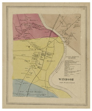 Windsor Village, Connecticut 1869 Hartford Co. - Old Map Reprint