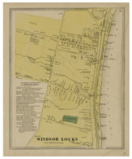 Windsor Locks Village, Connecticut 1869 Hartford Co. - Old Map Reprint