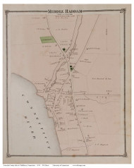Middle Haddam Village, Connecticut 1874 Old Town Map Reprint - Middlesex Co.