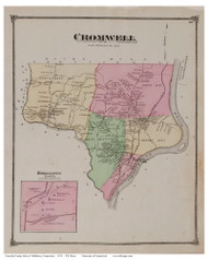 Cromwell, Connecticut 1874 Old Town Map Reprint - Middlesex Co.