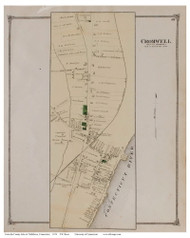 Cromwell Village, Connecticut 1874 Old Town Map Reprint - Middlesex Co.