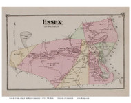 Essex, Connecticut 1874 Old Town Map Reprint - Middlesex Co.