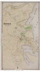 Essex Village, Connecticut 1874 Old Town Map Reprint - Middlesex Co.