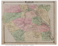 Haddam, Connecticut 1874 Old Town Map Reprint - Middlesex Co.