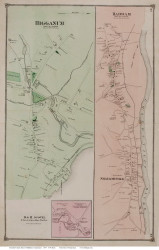 Haddam and Higganum Villages, Connecticut 1874 Old Town Map Reprint - Middlesex Co.