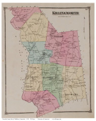 Killingworth, Connecticut 1874 Old Town Map Reprint - Middlesex Co.