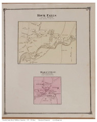 Rock Falls and Baileyville Villages, Connecticut 1874 Old Town Map Reprint - Middlesex Co.