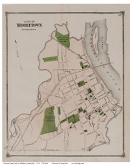 Middletown City, Connecticut 1874 Old Town Map Reprint - Middlesex Co.