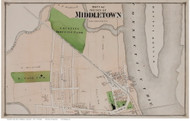 Middletown City Closeup Part 1, Connecticut 1874 Old Town Map Reprint - Middlesex Co.