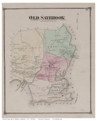 Old Saybrook, Connecticut 1874 Old Town Map Reprint - Middlesex Co.