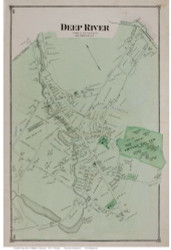 Deep River Village, Connecticut 1874 Old Town Map Reprint - Middlesex Co.