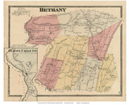 Bethany Town and Beacon Falls Village, Connecticut 1868 Old Town Map Reprint - New Haven Co.