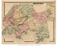 Branford Town and Stony Creek Village, Connecticut 1868 Old Town Map Reprint - New Haven Co.