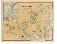 Branford and Branford Point Villages, Connecticut 1868 Old Town Map Reprint - New Haven Co.
