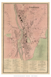 Ansonia Village, Connecticut 1868 Old Town Map Reprint - New Haven Co.