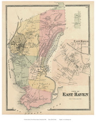 East Haven Town and Village, Connecticut 1868 Old Town Map Reprint - New Haven Co.