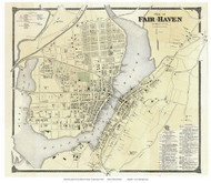 Fair Haven Village, Connecticut 1868 Old Town Map Reprint - New Haven Co.