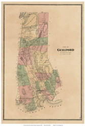 Guilford, Connecticut 1868 Old Town Map Reprint - New Haven Co.