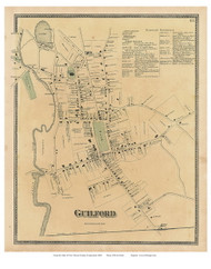 Guilford Village, Connecticut 1868 Old Town Map Reprint - New Haven Co.