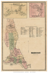 Madison Town, Madison and South Meriden Villages, Connecticut 1868 Old Town Map Reprint - New Haven Co.