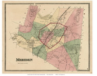 Meriden, Connecticut 1868 Old Town Map Reprint - New Haven Co.