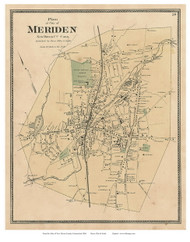 Meriden City, Connecticut 1868 Old Town Map Reprint - New Haven Co.
